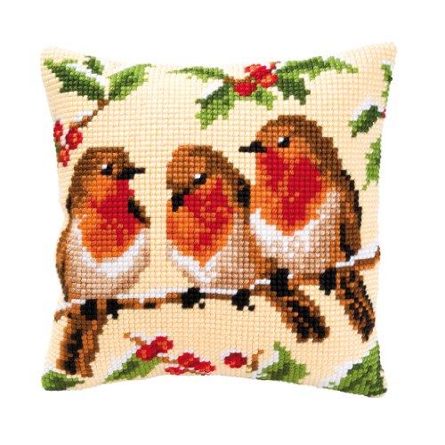 Vervaco Robins Cross Stitch Cushion, Multi-Colour