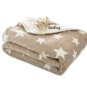 LeerKing Dog Puppy Blanket Double Layer Micro Fleece Plush Pet Cat Warm Bed Cover Cushion Mat, 30 x 40 Inches, Light Tan, M