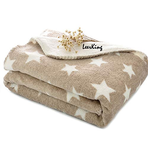 LeerKing Hundedecke Kuscheldecke für Katzen Kaninchen und alle Haustiere waschbar doppeilseitig für Sofa Bett und Körbchen Braun 75 * 100cm