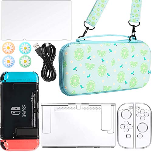 1 Piece Green Lemon Printed Carry Case Compatible with Nintendo Switch Accessories and 1 Piece Hard Shell Protective Case and Screen Protector, 4 Pieces Thumb Grip Caps and 1 Piece Data Cable