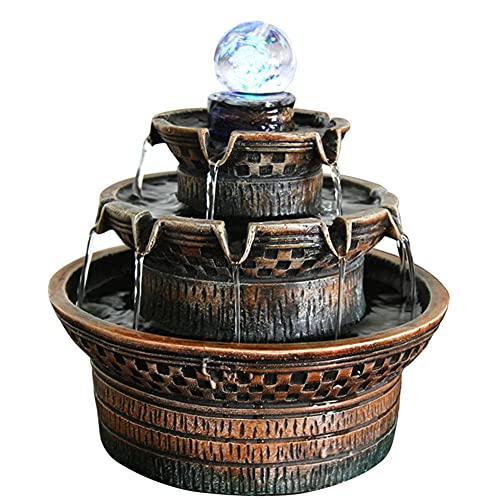 SJTL Fuente de polirresina de Color marrón Oscuro,Decorativo Aroma Estufa Titular Montaña Montaña Agua Decoración De Resina para Oficina Casa