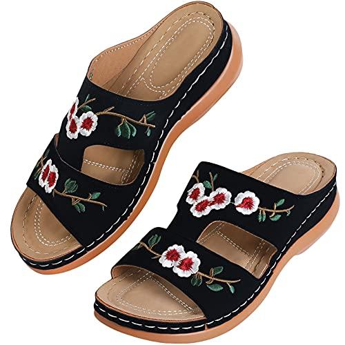 MUYOGRT Sandalias con Plataforma para Mujer Bordadas Mules Cómodos Zapatillas Sandalias de Cuña sin Espalda Verano Antideslizante Ortopédica Vintage Sandalias con Punta Abierta (39 EU, Negro)