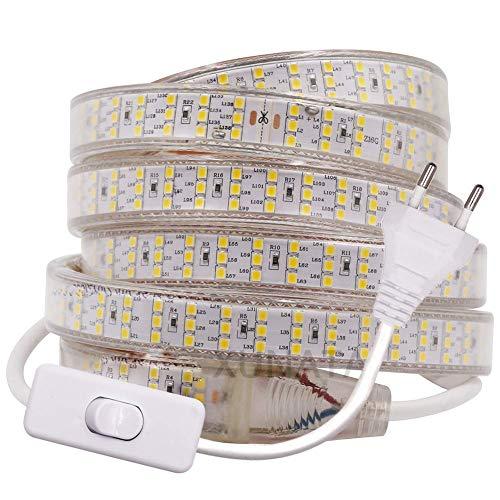 XUNATA Super Luminoso Striscia LED con Interruttore, 220V SMD 2835 276 LEDs/m, IP65 Impermeabile, Flessibile Striscia a LED per Scaletta Tetto Cavi da Cucina Decorazione- 2m, Bianco