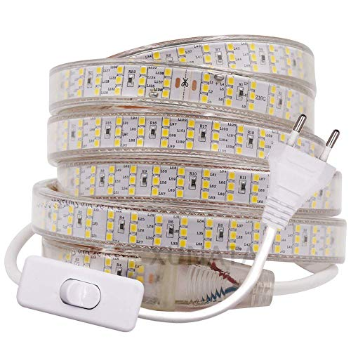 XUNATA 2m 220V Tira LED SMD 2835 Blanco Frio, Super Brillante (276 LED/m) Luz de cuerda LED Flexible, IP67 Impermeable para escalera cocina interior Decoración