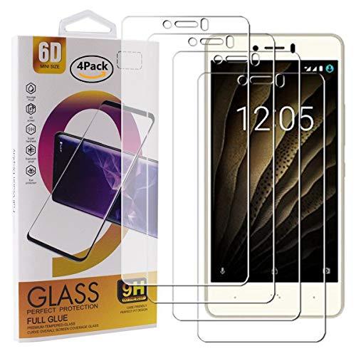 Guran 4 Paquete Cristal Templado Protector de Pantalla para BQ U/U Lite/U Plus Smartphone 9H Dureza Anti-Ara?azos Alta Definicion Transparente Película