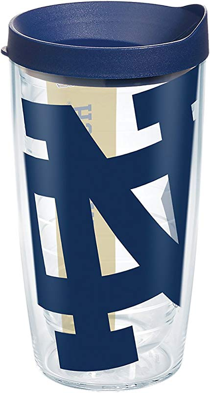 Tervis 1277398 Notre Dame Fighting Irish ND Colossal Tumbler With Wrap And Navy Lid 16oz Clear