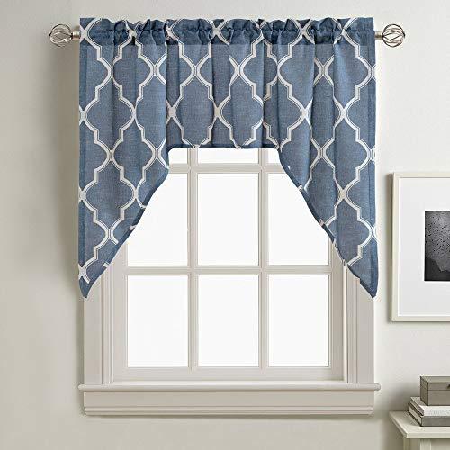"jinchan Valance Swag Moroccan Tile Print for Kitchen Living Room Quatrefoil Flax Linen Blend Textured Geometry Lattice Window Treatment 1 Panel 38"" L Blue"