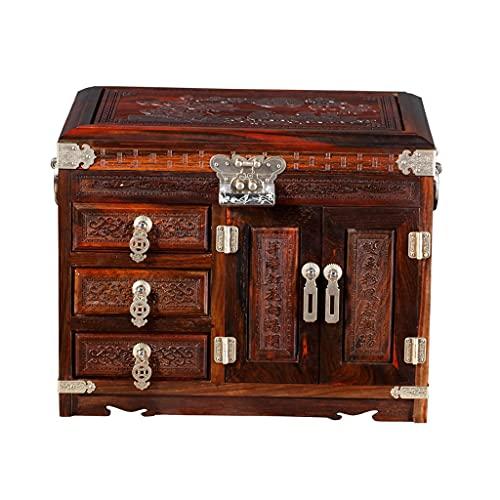 Yousiju Joyería vintage Collar de perlas Pulsera Organizador de almacenamiento Caja de madera Caja de almacenamiento Caja de visualización Decorativo