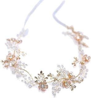 Frcolor Bridal Headband Crystal Leaves Hair Band Wedding headwear Hair Accessories for Wedding