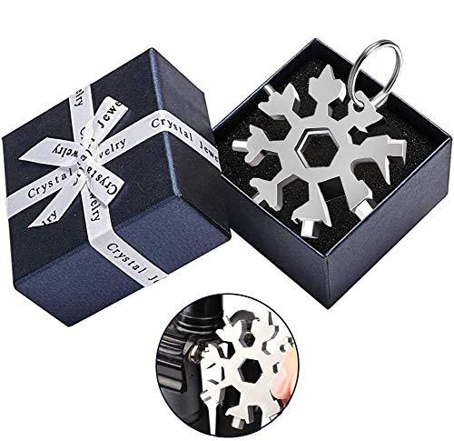 18-in-1 Edelstahl Schneeflocken Multifunktionswerkzeug,Schneeflockenwerkzeug, Multi-Tool Card Schlüsselanhänger,Schneeflocke Multitool,Gadgets für Männer, Weihnachtsgeschenke mit Geschenkbox (Silber)