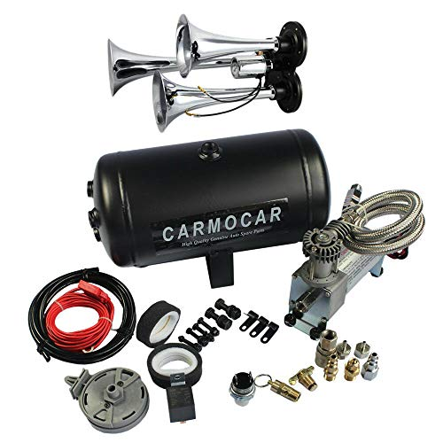 Compatible with Loud Triple Trumpet Air Horn Kit with 98c 1 Gallon Best Buy for Car Truck RV