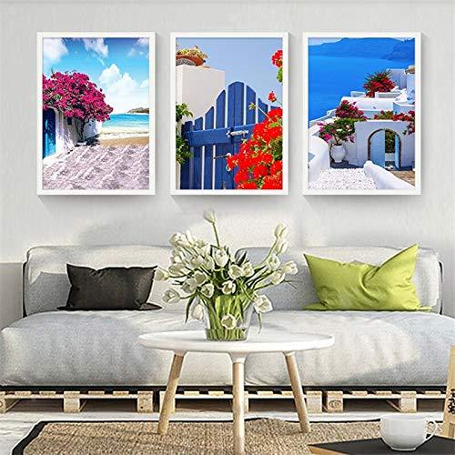 ganlanshu Nordische dekorative Malerei Ölgemälde niedlichen Landschaft blauen Himmel Ozean schönen Straßenboot frischen Stil,Rahmenlose Malerei,40X60cmx3