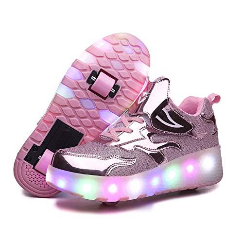 RDJSHOP Zapatos de Patinaje sobre Ruedas con Luces LED Calzado de Skate Técnico para Niños y Niñas Ruedas Dobles Carga USB Zapatillas Deportivas de Gimnasia para Correr Intermitentes,Pink-36