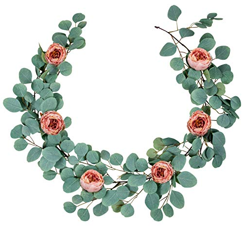 Artificial Eucalyptus Garland with Detachable Peony Flowers - Thick Full Realistic Forever Green Leaves Ivy Vine Plant Greenery Decoration Wedding Backdrop, Table Runner, Mantle Swag