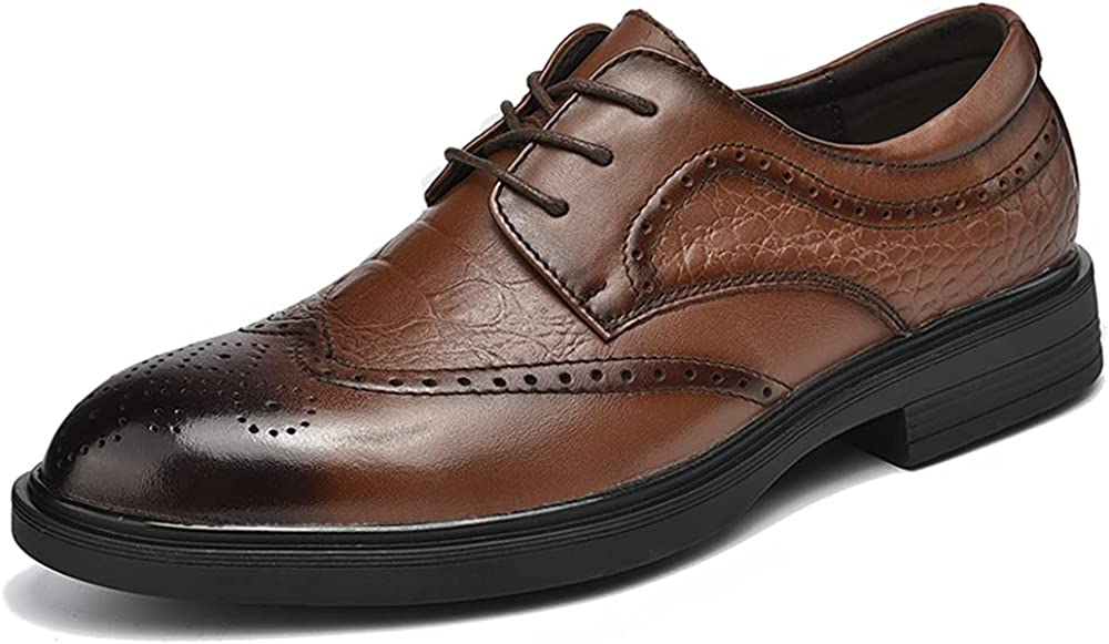 Cmaocv Bombing new work Men's Hybrid Brogue Oxford Lace-Up Wing Dress Leather Our shop OFFers the best service Tip
