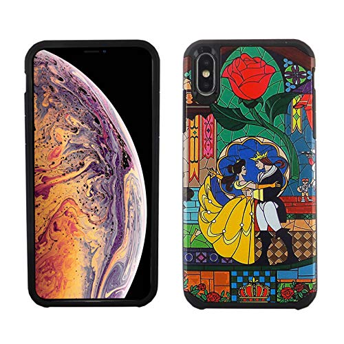iPhone Xs MAX Case, IMAGITOUCH 2 in 1 Armor Case with Flexible Shock Absorption Case & Beauty and The Beast Design Cover Hybrid for iPhone Xs MAX 6.5 inch -Beauty & The Beast