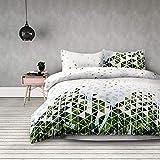 4tlg 2 x Bettwäsche 135x200 cm mit 2 Kopfkissenbezügen 80x80 cm geometrisches Muster Floral Microfaser Reißverschluss weiß grün