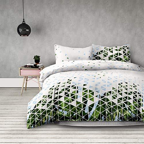AmeliaHome 3tlg Bettwäsche 200x200 cm mit 2 Kissenbezügen 80x80 cm geometrisches Muster Floral Microfaser Reißverschluss Basic Collection Explosion weiß grün