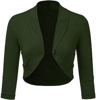 87b6155d4e672a iYmitz Damen Plus Größe Solide Bolero Shrug Open Front Beschnitten Mini  Office Work Cardigan