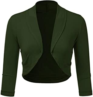iYBUIA Women Plus Size Three Quarter Sleeve Solid Bolero Shrug Open Front Cropped Mini Office Work Cardigan