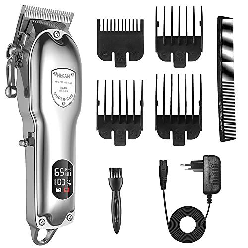 Professionelle Haarschneidemaschine Schnurlose Haarschneider, Herren Bartschneider, Wiederaufladbar 2500mAh 300min Arbeitszeit, 6500 U/min, LED-Anzeige