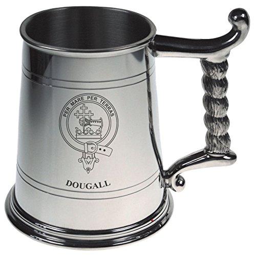 Dougall Crest Tankard con asa de cuerda en estaño pulido 1 Pint Capacidad