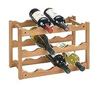 wenko 18615100 scaffale portabottiglie norway per 12 bottiglie, in noce, 42 x 28 x 21 cm