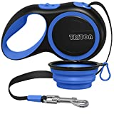 Triton Retractable Dog Leash - 16 ft Reinforced Nylon Ribbon with Collapsible Water Bowl, One Touch Locking System, Tangle-Free, Anti-Slip Rubberized Handle