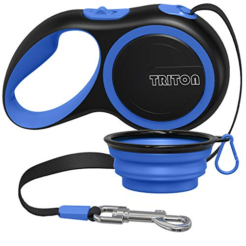 Triton Retractable Dog Leash with 16ft Reinforced Nylon Band and Collapsible Water Bowl