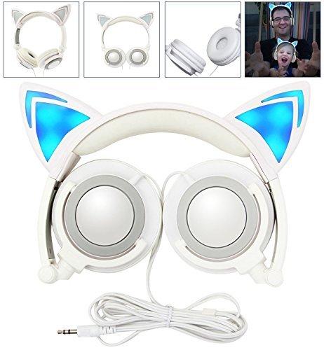 LIMSON Headphones Folding Enfants Casques, Sur Headset d'Oreille Avec LED Lumière Emettant Earphone...