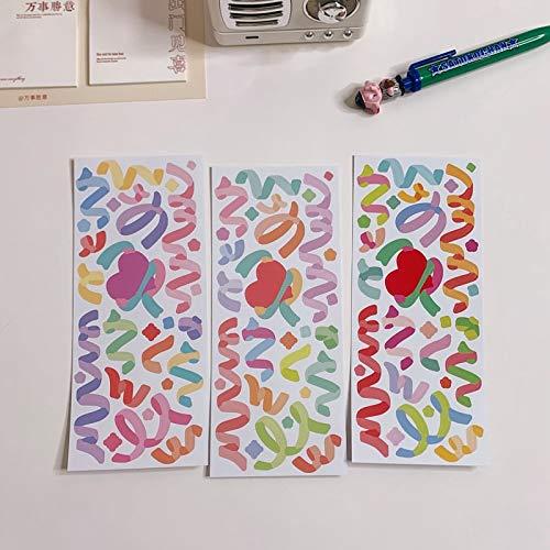 PMSMT 3 unid/Set Lindo Lazo de Cinta Colorida Pegatinas Decorativas de PVC Scrapbooking Stick Etiqueta DIY Diario álbum papelería Pegatina Accesorios