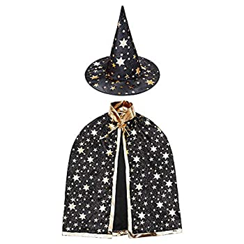 Wizard Cape with Hat Halloween kids Costumes,Witch Cape for 3-12 years Children,Halloween Props  Black