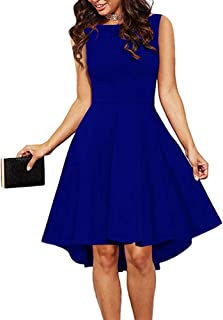f6aacc1b1ce ReoRia Women Sleeveless Boat Neck High Low Cocktail Skater Swing Dress