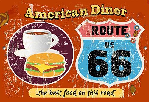 Fhdang Decor Plaque en métal pour Diner américain Route 66 30,5 x 45,7 cm