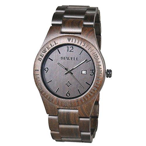 BEWELL Orologio Legno Uomo Orologi da Polso Wood Watch (Nero)