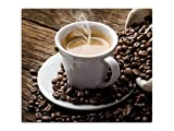 Herdabdeckplatte Schneidebrett Spritzschutz aus Glas, Multi-Talent HA32282345 Tasse Kaffee Variante Einteilig (1 Panel)