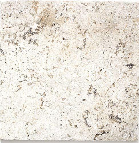 Fliese Travertin Naturstein weißgrau Fliese silber Antique Travertin MOSF-45-47030