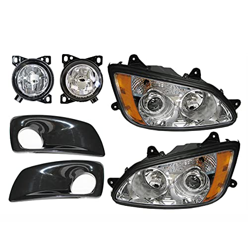 6 Item Combo - Headlight with Fog Lamp and Black Bezel - Driver and Passenger Side (Fit: Kenworth T660)