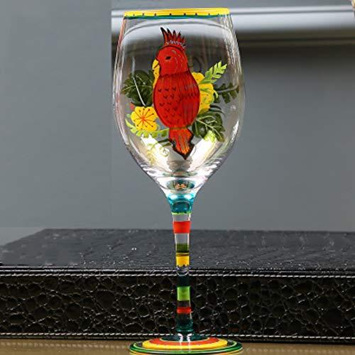 Copa De Vino Pintada A Mano Loro Rojo Glass Copas De Vino Blancas - 280 ML, Aniversario Día De San Valentín Cumpleaños