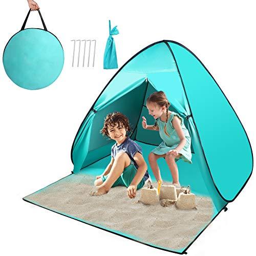 Strandmuschel, Pop up Strandzelt mit Windschutz Reißverschlusstür und UV-Schutz, Familie Kinder Portable Outdoor Beach Tent für 2-3 Personen