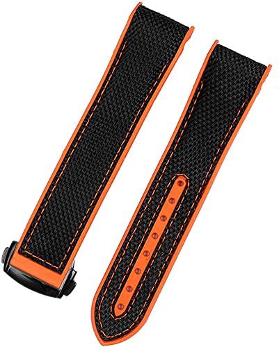 Compatible con banda de goma de nailon para hombres de omega y hombres, cierre de correa de silicona para reloj de pulsera, 20 mm, color naranja y negro