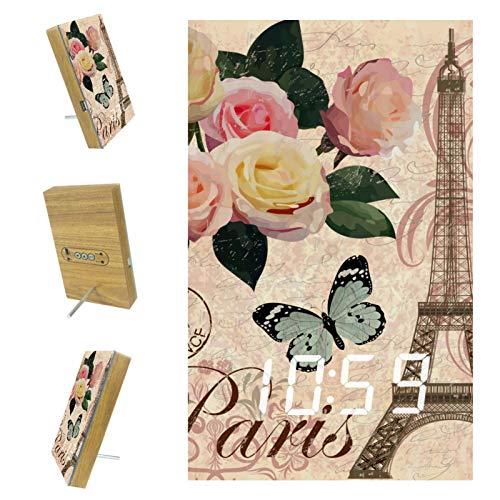 nakw88 París Torre Eiffel - Reloj despertador digital para dormitorio, con puerto USB para cargar, oficina y decoración del hogar