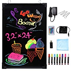 [PREMIUM QUALITY] This LED message writing board consists of explosion-proof, anti-scratch, reinforced glass and safe & environmental-friendly accessories (8 Chalk marker with MSDS certification, US power adapter with FCC UL certification) [VERSATILE...