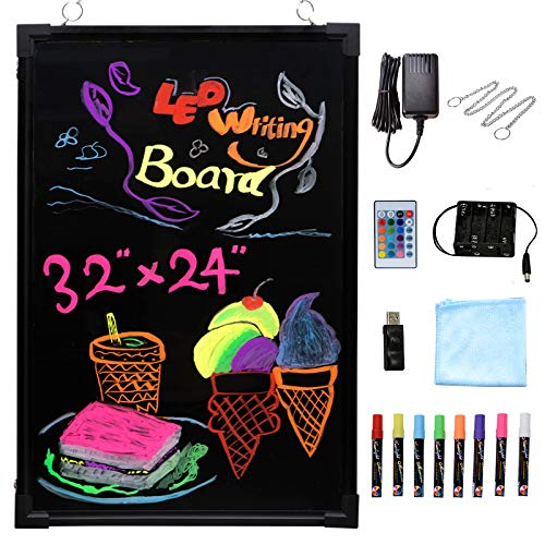 Voilamart LED Message Writing Board, 32' x 24' Flashing Illuminated Erasable Message Memo Notice Menu Sign Board with Remote Control, 8 Colors Chalk Marker