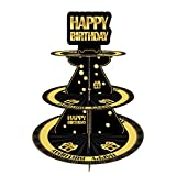 Happy Birthday 3 Tier Cardboard Cupcake Stand / Tower Round Tiered Serving Platter Birthday Decorations For Boys Girls Birthday Party