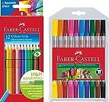 Faber-Castell - Buntstifte Colour Grip, 12er Kartonetui + 10er Etui Doppel-Fasermaler mit breiter und feiner Spitze
