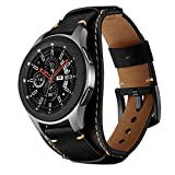 Balerion Cuff Genuine Leather Watch Band,Compatible with Samsung Galaxy Watch 46mm,Gear S3,Fossil Q Explorist/Q Marshal Gen 2 and Other Standard 22mm Band Width Watch,Black