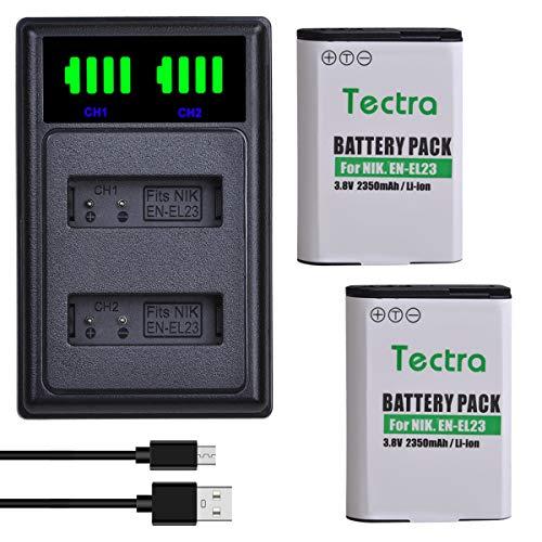 Tectra 2Pcs EN-EL23 Replacement Battery + LED USB Dual Charger for Nikon Coolpix B700, P900, P600, P610, S810c Digital Camera