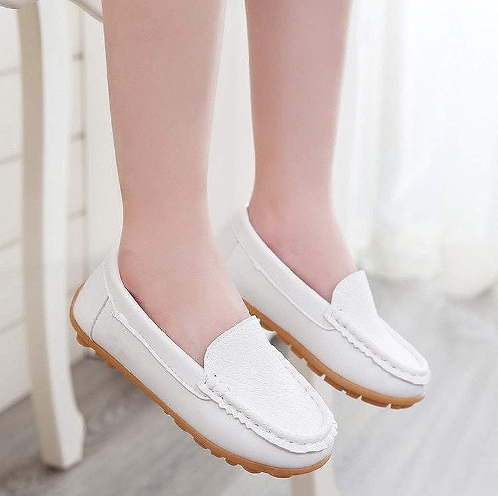 Vorgelen Boys Girls Leather Loafers Soft Oxford Shoes Slip-on Moccasins Kids Cute School Dress Shoes Toddler Anti-Slip Flat Boat Shoes