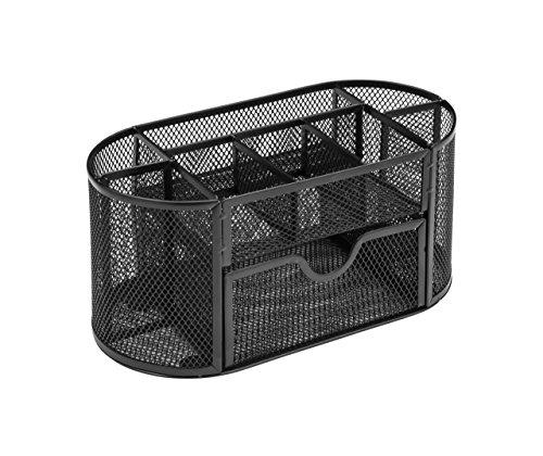 Osco WMD03-BLK - Organizador de malla metálica con cajón, negra